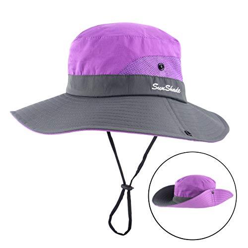 b111e7001d985 Women Outdoor Sun Hat UV Protection Wide Brim Mesh Foldable Safari Beach  Fishing Bucket Cap Purple
