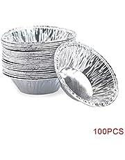 Uokoki 100 Piezas Redondas Tarta del Huevo Copas, Molde de cocción de la Galleta de Aluminio Papel de Aluminio Tazas de la hornada de la Galleta del Molde del pudín de la Magdalena