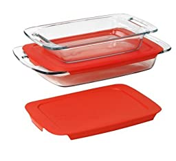 Pyrex  Easy Grab 4-Piece Value Pack, includes 1-ea 3-qt Oblong, 2-qtOblong, Red Plastic Covers