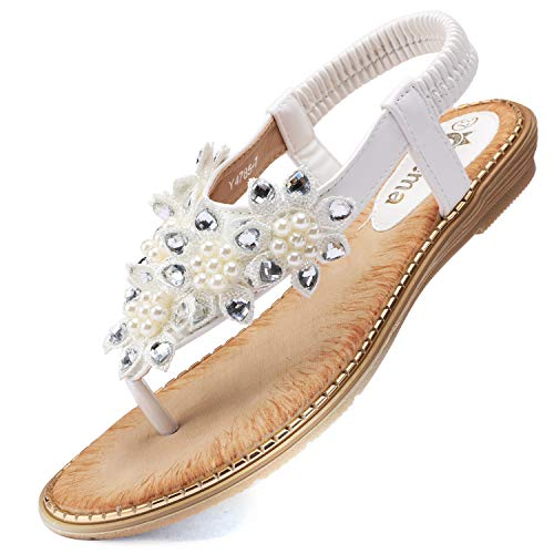 Odema Women's Bohemian Flat Sandals Elastic Slip On Flower Rhinestone Flip Flop Shoes White