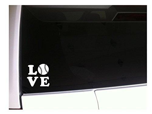 "Love Baseball 6"" Vinyl Sticker Decal *A5 Sports Athlete Mom Family Heart Symbol Cleats Diamond Glove Bat Fan Player Uniform Bag Helmet"