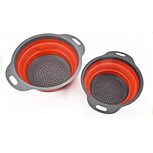 Gaorui 2 Pack Collapsible Colanders Folding Strainers Colander/Strainer Set Silicone Kitchen Strainer Space-Saver