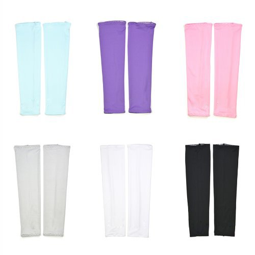 COSMOS ® 6 Pairs UV Protection Cooler Arm Sleeves for Bike/Hiking/Golf (Black,White,Pink,Purple,Gray & Light Blue - Cooler Arm