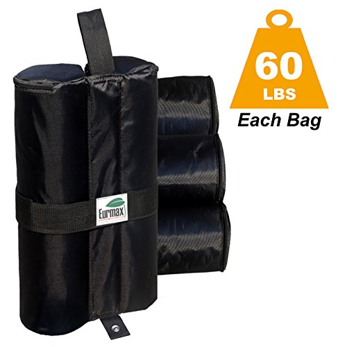 Eurmax Deluxe Canopy Weights Sand Bag Leg Weights Dual Zipper Partition 1680D Polyester 60 lbs/pc (4pc-pack)