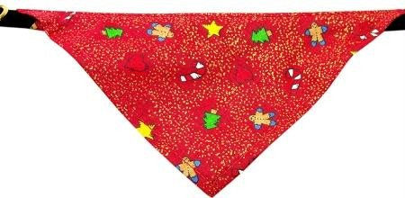 Mirage Pet Products Limited Edition Velvet Christmas Golden Gingerbread Man Bandana Collar for Dogs, 10-Inch
