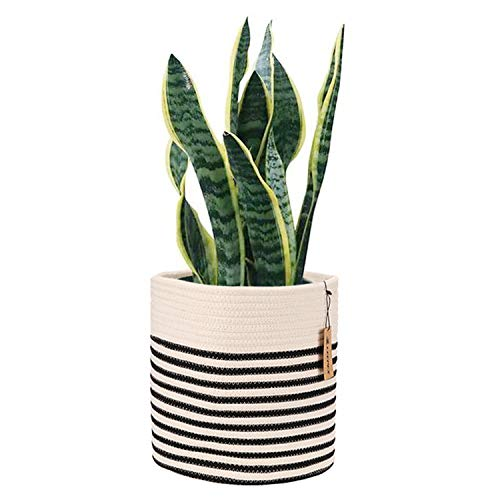 (LEEPES Cotton Rope Plant Basket Modern Woven Basket for 11