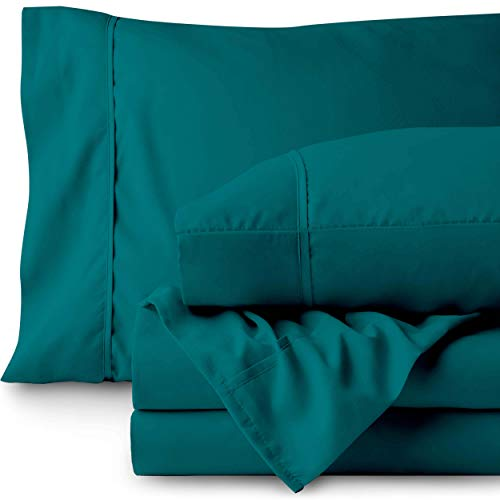 Bare Home Twin XL Sheet Set - College Dorm Size - Premium 1800 Ultra-Soft Microfiber Sheets Twin Extra Long - Double Brushed - Hypoallergenic - Wrinkle Resistant (Twin XL, Emerald)