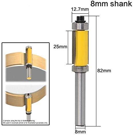 NO LOGO ZZB-ZT, 1 Stück 8mm Schaft Top & Bottom Lager 8 '' Schaft Holzbearbeitungswerkzeug Holzbearbeitung Fräser Flush Trim Fräser (Size : As Show)