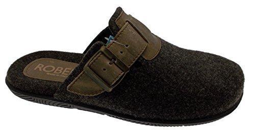 chaussures de pantoufle de laine en feutre marron art de la boucle de tissu C86185