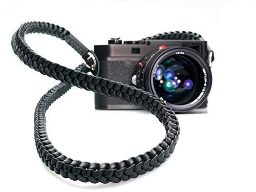 (Barton 1972 Braided Pitch Black Black 42 inch (105cm) Leather Leica Sony Fuji Olympus Luxury Designer Camera Strap)