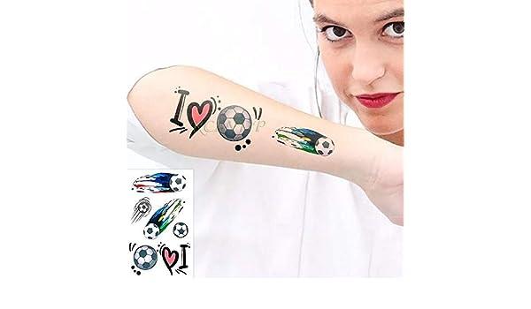 tzxdbh Etiquetas engomadas Impermeables del Tatuaje Color Fútbol ...