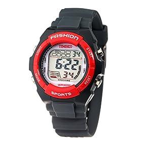Time100 Kids' Digital Timing Multifunctional Dark Grey Strap Sport Electronic Watch#W40011L.05A