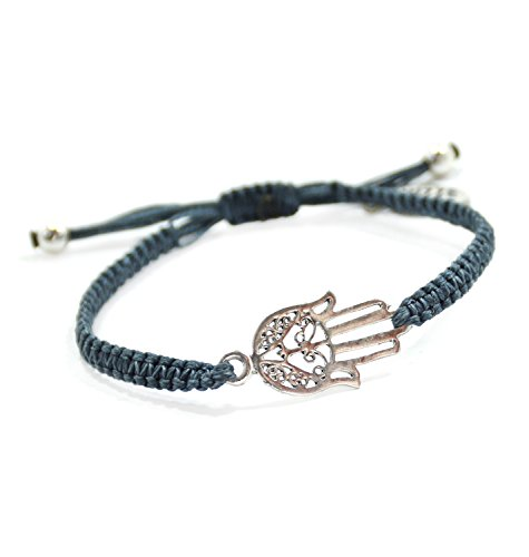 WOMEN'S Adjustable Hamsa Hand Protection Bracelet for Good Luck & Protection in Denim Blue
