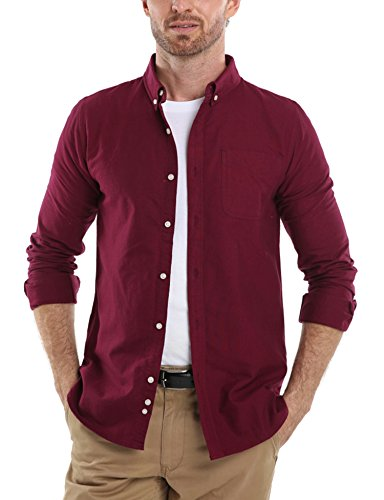 Button Down Classic Oxford Shirt (Men's Solid Color Oxford Long Sleeve Button Down Casual Shirt,Wine Red,X-Large)