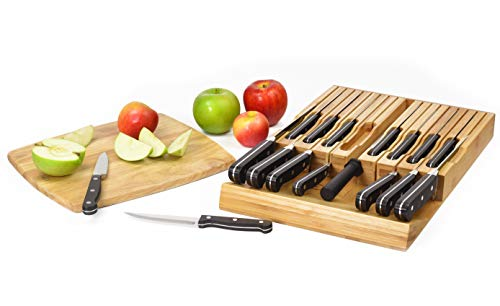 ELTOW In-Drawer 16 Knife Block Bamboo Organizer | Drawer Knife Set Storage with Safety Slots for 16 Knives and Knife Sharpener | Cutlery Set Holder Elegantly Crafted from MOSO Bamboo by ELTOW (Image #1)