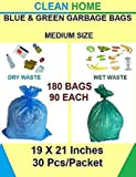 Clean Home- OXO Biodegradable Garbage Bags 6 Pack Medium Size 48 X 54 cm (19 X 21 inch) Disposable Garbage Bags for Dry and Wet Waste (90 Pieces Blue and 90 Pieces Green)- Total 180 Bags