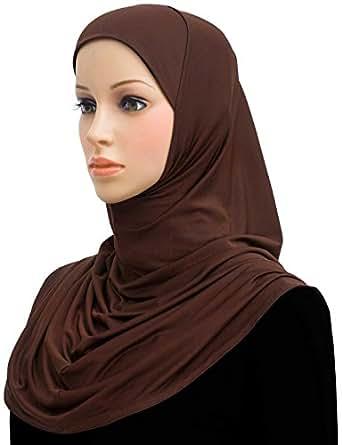 Lycra Amira Hijab 1 piece Long Women's Headscarf (Brown)