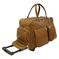 Piel Leather Multi-Pocket Duffel On Wheels