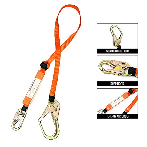 Troy Safety SPLD002 6 ft Energy-Absorbing Single Leg Lanyard with Snap Hook and Rebar Hook ()