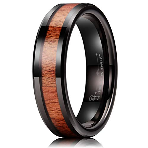 THREE KEYS JEWELRY 6mm Tungsten Wedding Ring with Koa Wood Inlay Black Flat Wedding Band Engagement Ring Comfort Fit Size 10
