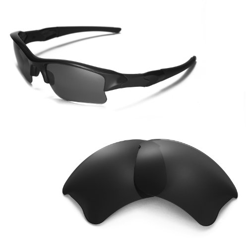 Walleva Replacement Lenses for Oakley Flak Jacket XLJ Sunglasses - Multiple Options Available (Black - Polarized) (Flak Lenses Oakley)