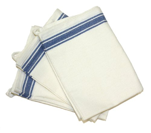 Flour Sack Fabric (Aunt Martha's 18-Inch by 28-Inch Package of 3 Vintage Dish Towels, Blue Striped)