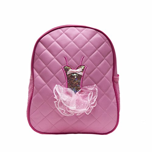 Dance Backpack Pink Quilted Sequin Ballerina Tutu Backpack Medium Girls 4-9 (Girls Quilted Backpack)