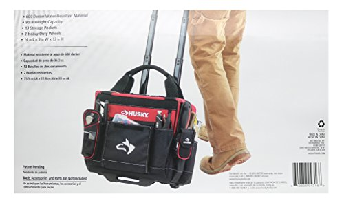 Husky GP-44316AN13 14'' 600-Denier Red Water-Resistant Contractor's Rolling Tool Tote Bag with Telescoping Handle by Husky (Image #5)