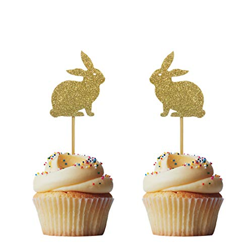 Morndew 24 PCS Rabbit Cake Topper Bunny Cupcake Toppers for Kids Girls Birthday Party Baby Shower Wedding Party Decorations