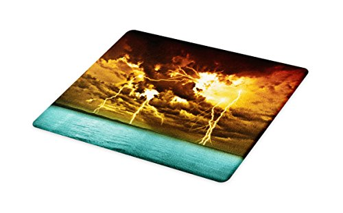 Lunarable Nature Cutting Board, Flash Storm Over The Lake with Large Rain Clouds Miracle Solar Illumination Photo, Decorative Tempered Glass Cutting and Serving Board, Large Size, Blue Yellow by Lunarable