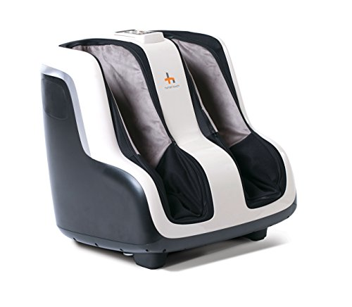 Human Touch Sol Foot and Calf Shiatsu Massager with Patented Figure-8 Technology, Heat, Vibration, and Intensity Setting , Black and White - 200-SOL-001