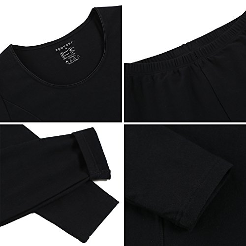 Ekouaer Women's Thermal Long Johns Underwear Base Layer Set Top&Bottom(Black,Small) by Ekouaer (Image #5)