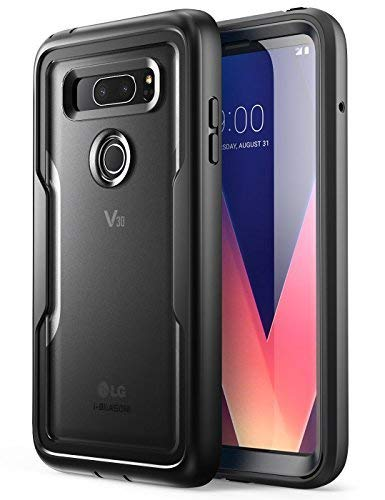 i-Blason Case for LG V30 / V30 Plus / V30S (2017), [Heavy Duty Protection] [Clear Back] [Magma Series] Shock Reduction/Full Body Bumper Case with Built-in Screen Protector (Black)