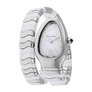 418QLEMYUdL. SS300  - Bvlgari Serpenti Spiga White Lacquered Dial Quartz Ladies Watch 102182