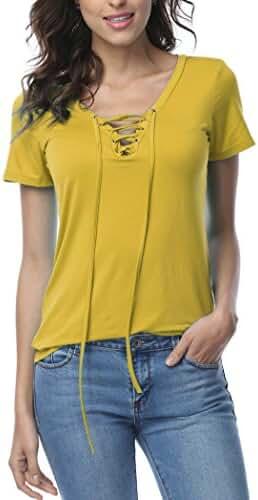 Women's Sexy Plain Deep V Neck Lace Up Short Sleeve Blouse Top