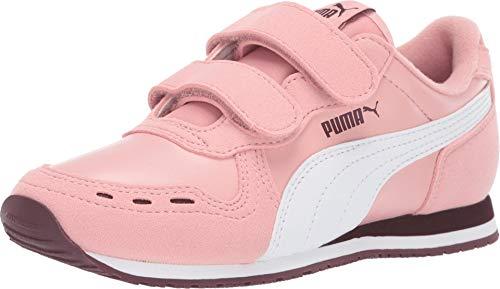 PUMA Unisex Cabana Racer Velcro Sneaker, Bridal Rose White-Vineyard Wine, 10.5 M US Little Kid