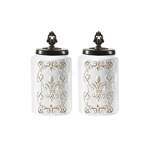 American atelier Ceramic Canister Set Jar Container for Kitchen Food Storage White Antique Cream with Gray Top Set of 2 - Large