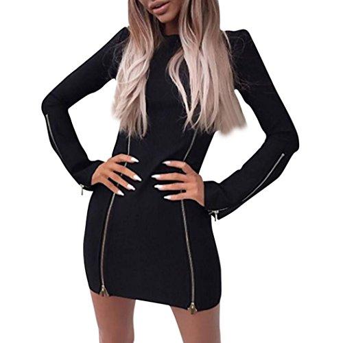 Zarupeng Mini vestido de Patchwork con cremallera de manga larga casual de moda de mujer Negro