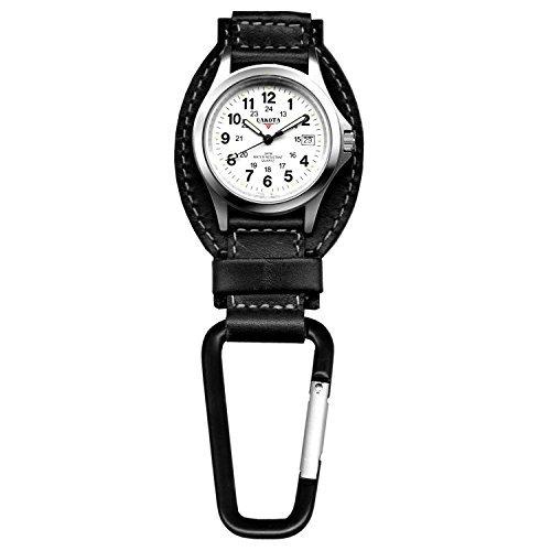 Dakota Black Leather Field Clip Watch by Dakota