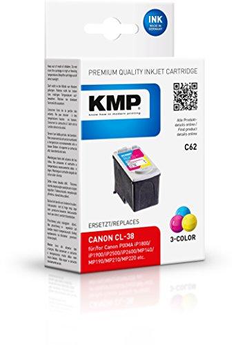 KMP C62 - Cartucho de Tinta para impresoras (Cyan, Magenta, Yellow, ISO/IEC 24711, Canon Pixma IP 1800, IP 1900, IP 2600, MP...