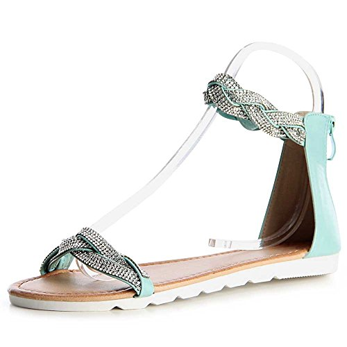 Sandales Femmes Sandalettes topschuhe24 Menthe Vert Ba10xqn