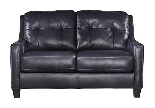 (Ashley Furniture Signature Design - O'Kean Contemporary Leather Upholstered Tufted Back Loveseat - Navy)