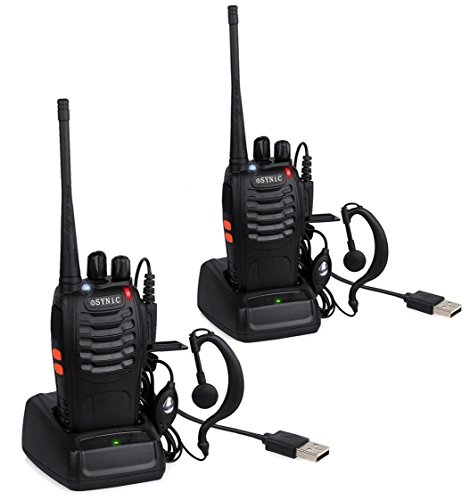 ESYNiC Walkie Talkies 2 pcs Long Range Two-Way Radio USB Cable Charging UHF 400- 470MHz Walky Talky With Earpieces Flashlight 16CH Single Band FM Handheld Transceiver
