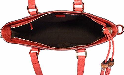 a3846518f87 Gucci 365346 Medium Leather Bamboo Tassel Crossbody Handbag Purse (Coral Red )