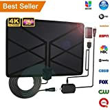 2018 Newest TV Antenna,Indoor Amplified Digital HDTV Antenna 65-100 Mile Range with 4K 1080P HD VHF UHF Freeview TV for Life Local Channels Broadcast for All Types of Home Smart Television (Black)