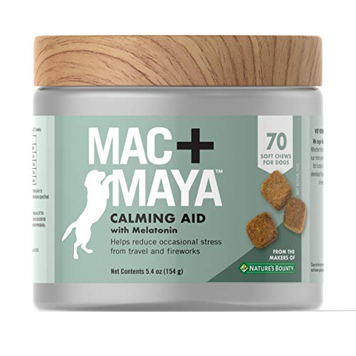 Mac + Maya Calming Aid for Dogs with Melatonin, Helps to Reduce Stress & Tension for Dogs, with Thiamine and L-trytophan, 70 Soft Chews