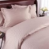 QUEEN Size, PINK Damask Stripe, 1000 Thread Count / 1000TC Sateen Weave Long Staple 100-Percent Ultra Soft Egyptian Cotton 4 PIECE Bed Sheet Set. Inlcudes 2 Pillow Cases (Deep Pocket)