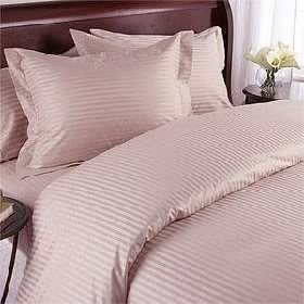 Luxurious BLUSH Damask Stripe, QUEEN Size, 1200 Thread Count Ultra Soft Single-Ply 100% Egyptian Cotton, THREE (3) Piece DUVET COVER SET Including TWO (2) Shams / Pillow Cases 1200TC