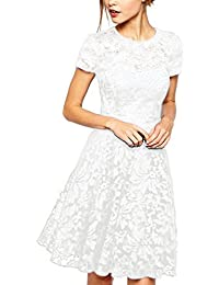 7e428bf0b0 Women Round Neck Short Sleeve Pleated Lace Mini Party Evening Cocktail Dress