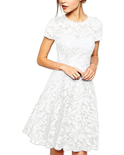 Lace Pleated Dress - Measoul Women Round Neck Short Sleeve Pleated Lace Mini Party Evening Cocktail Dress White S